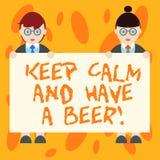 Scrivendo la rappresentazione della nota tenga la calma ed abbia una birra Foto di affari che montra Relax per godere di una beva illustrazione vettoriale