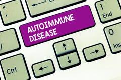 Scrivendo a rappresentazione della nota malattia autoimmune Foto di affari che montra gli anticorpi insoliti che mirano ai loro p fotografie stock