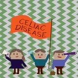 Scrivendo a rappresentazione della nota malattia celiaca La foto di affari che montra l'intestino tenue è ipersensibile al proble illustrazione vettoriale