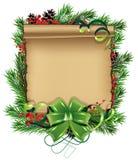 Scrol de papel con el arco y las ramas spruce Imagen de archivo