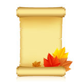Scroll with autumn leaves Royalty Free Stock Photo