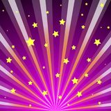Scroll on a background of sunlight. A bright and shining background with sun rays and stars on the dark pink dawn Royalty Free Stock Photo