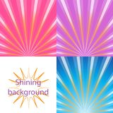 Scroll on a background of sunlight. Set of  bright and shining backgrounds with sun rays on the background of the orange, pink, blue, purple dawn Stock Image