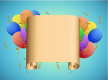 Scroll and balloons illustration design Royalty Free Stock Photo