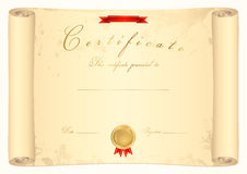 Scroll certificate. Old map. Parchment. Vector illustration EPS 8 Royalty Free Stock Photo