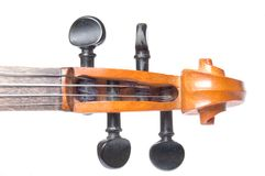 Scroll of classical violin close up Stock Photos
