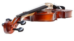 Scroll of classical wooden fiddle close up Royalty Free Stock Photos