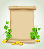 Scroll and clover leaves Stock Image