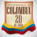 Scroll and Colombian Flag to Commemorate Declaration of Independence, Vector Illustration. Poster with scroll like Colombian Declaration of Independence Royalty Free Stock Photos