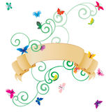 Scroll with colorful butterflies isolated on white Royalty Free Stock Photos