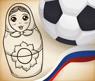 Matryoshka Doll in Hand Drawn Style, Russian Ribbon and Ball, Vector Illustration. Scroll with cute matryoshka doll in hand drawn style, next to soccer ball and Royalty Free Stock Photography