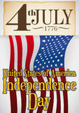 Scroll with Date Holding the U.S.A. Flag for Independence Day, Vector Illustration. Poster with reminder date written in a old scroll, holding an U.S.A. flag for Royalty Free Stock Photos