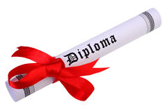 Scroll of diploma isolated on white. Diploma, close up of paper scroll with red ribbon isolated on white background Stock Images