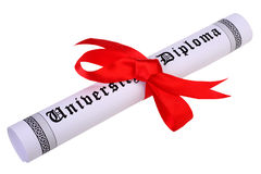 Scroll of diploma isolated on white Stock Photos