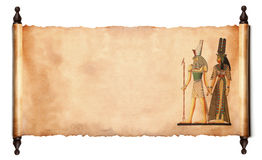 Scroll with Egyptian papyrus. Scroll with Egyptian gods images - Pharaoh and Horus.  isolated over a white background Royalty Free Stock Image