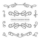 Scroll elements, set of vintage calligraphic vignettes. Vintage calligraphic vignettes and flourishes, page decoration template, dividers, set of decorative Royalty Free Stock Photo