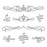 Scroll elements, set of vintage calligraphic vignettes Royalty Free Stock Photos