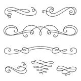 Scroll elements, set of vintage calligraphic vignettes Stock Photos