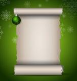 scroll för papir för filialjulgreen gammal Arkivbild