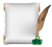 Scroll, feather and inkwell Stock Photo