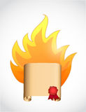 Scroll on fire. illustration design Royalty Free Stock Images