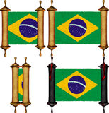 Scroll with the flag from Brazil Stock Photos