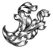 Scroll Floral Filigree Heraldry Design stock illustration