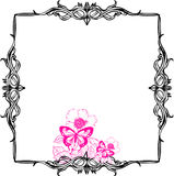 Scroll frame. Back scroll frame with flowers Stock Photography