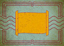 Scroll frame on the aged cardboard Royalty Free Stock Images