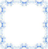 Scroll frame/border. Blue scroll frame in white background Stock Image