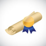 Scroll and gold ribbon illustration design Stock Photography