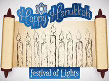 Scroll with Hand Drawn Candles Celebrating Hanukkah Festival of Lights, Vector Illustration Royalty Free Stock Photography