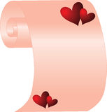 Scroll with hearts Stock Image