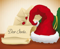 Scroll and Letters with Wishes to Santa, Vector Illustration Stock Photography