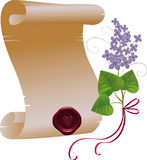 Scroll with lilac. Vector parchment scroll with a bunch of lilac, EPS 10. Layers are managed and arranged for easy editing Stock Photo