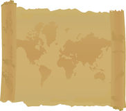 Scroll with  map of world Royalty Free Stock Images