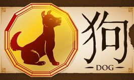 Scroll with Medal with Chinese Zodiac Dog over Earthy Background, Vector Illustration. Banner with seated Dog of the Chinese Zodiac -written in Chinese Stock Photo