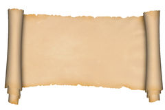 Scroll of medieval parchment. Royalty Free Stock Images