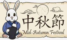 Cute Moon Rabbit Preparing Elixirs in Mid-Autumn Festival, Vector Illustration royalty free illustration