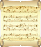 Scroll. notes. Vintage musical scroll. vector illustration Stock Photo