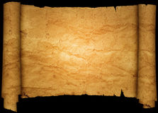 Scroll of old crumpled paper. Stock Image