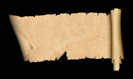 Scroll of old paper on black background. Antique scroll of parchment with torn edges. Isolated on black background stock illustration