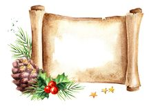 Scroll of old paper with Christmas composition. New year card template. Watercolor hand drawn illustration isolated on white back stock illustration