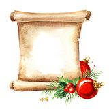 A scroll of old paper with Christmas elements. New year card template. Watercolor hand drawn illustration, isolated on white back royalty free illustration