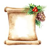 A scroll of old paper with Christmas elements. New year card template. Watercolor hand drawn illustration, isolated on white back vector illustration