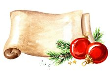 Scroll of old paper with Christmas red balls. New year card template. Watercolor hand drawn illustration isolated on white backgr royalty free illustration