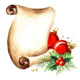 Scroll of old paper with Christmas red balls. New year card template. Watercolor hand drawn illustration isolated on white backg stock illustration
