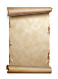 Scroll of old paper with curled edges isolated. On white royalty free stock photos