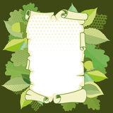 Scroll old paper in a frame. Of leaves Stock Image