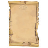 Scroll of old paper with ornaments. The background of the scroll on aged paper with floral ornament of flowers and leaves, intended for posters, postcards Stock Photography